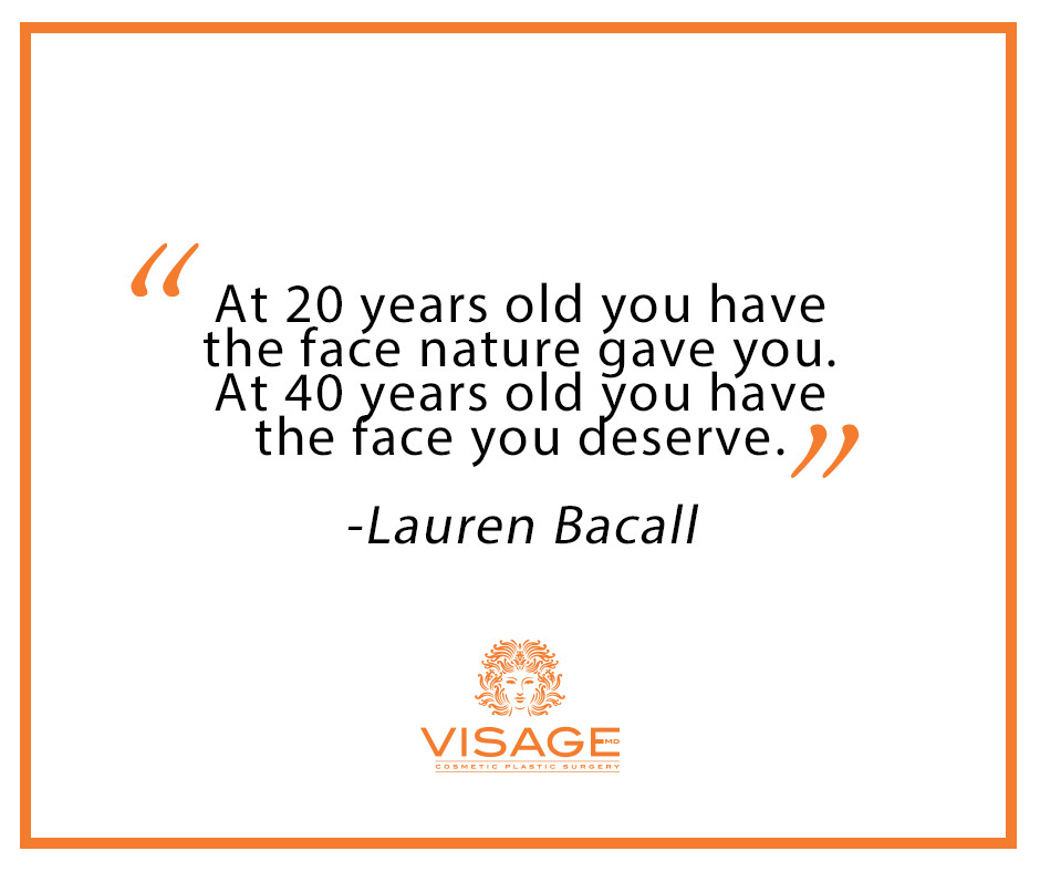 Skin care quote from Lauren Bacall